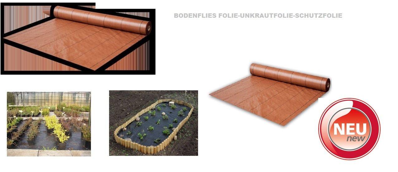 Bodengewebe Unkrautfolie 94g/qm - Mulchfolie- Unkrautschutzfolie Unkraut-Farbe:Braun-Maße:1,00 x 100m (110m²)