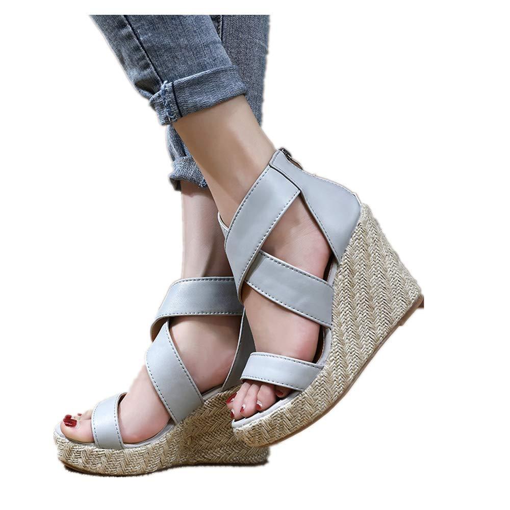 Women's Wedge Sandals, Bohemian Gladiator Peep Toe Back Zipper Ankle Strappy Platform Sandals Gray