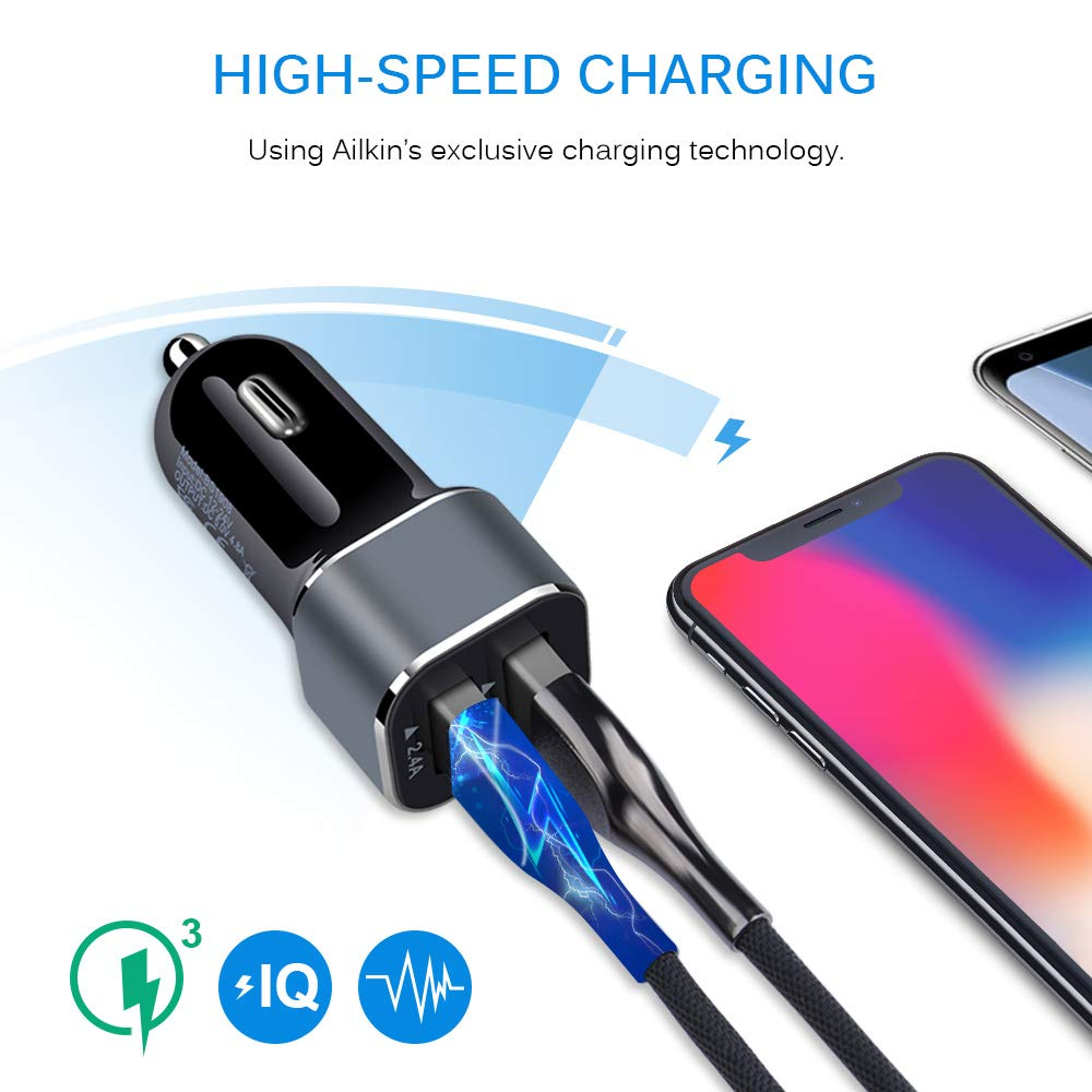 Car Charger 2Pack AILKIN 4.8A Portable Dual Port USB Cargador Carro Lighter Adapter for iPhone Black Fast Charging 12v Outlet LED Muti Cell Phone Car USB Charger Adapter Samsung Tablet iPad GPS
