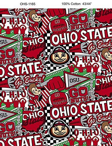 Ohio State Graffiti Printed Cotton Fabric with POP Art-Newest Pattern-NCAA Cotton Fabric