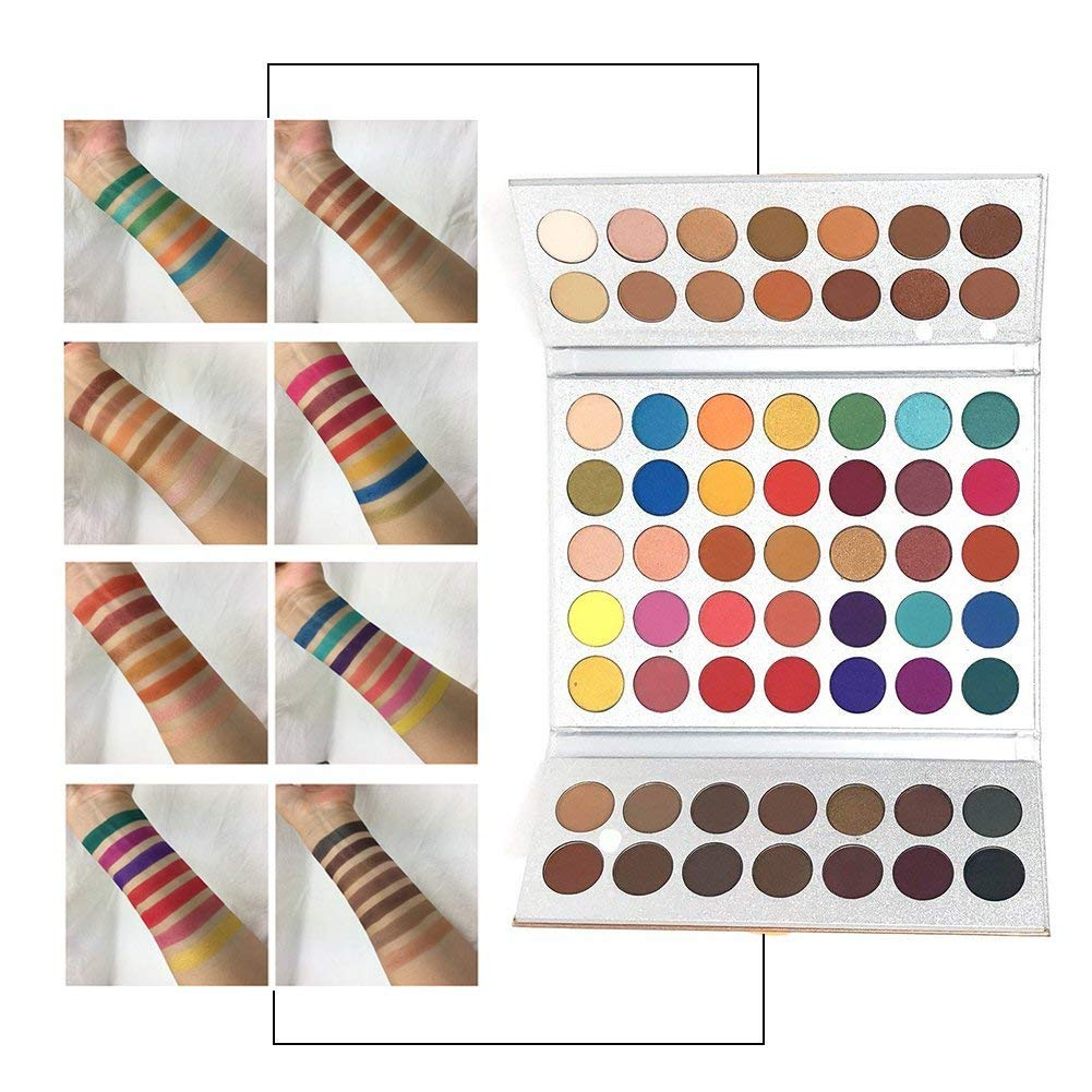 Beauty Glazed Make Up Palettes 63 Shades Eyeshadow Pigmented Matte Colors Long Stay On Soft and Smooth + Powder Sponge Blender + Make Up Brushes Set by Beauty Glazed (Image #4)