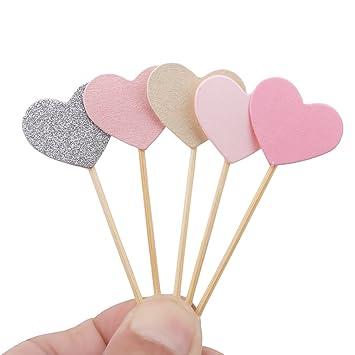 Juego de 5 decoraciones para magdalenas, diseño de corazón rosa divertido con purpurina para decoración
