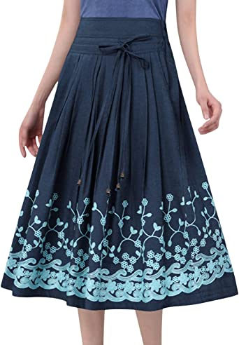 Women Vintage Blue Pleated Floral Midi Skirt Size Small