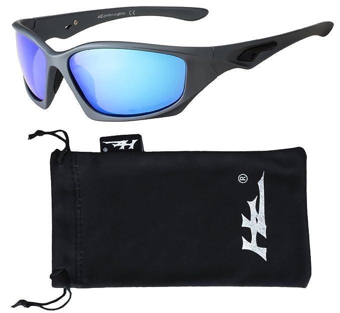 252d88db68 Hornz HZ Serie Pro - Gafas de Sol Polarizadas Premium Marco gris mate de  Gunmetal - Lente de espejo de hielo azul: Amazon.es: Ropa y accesorios