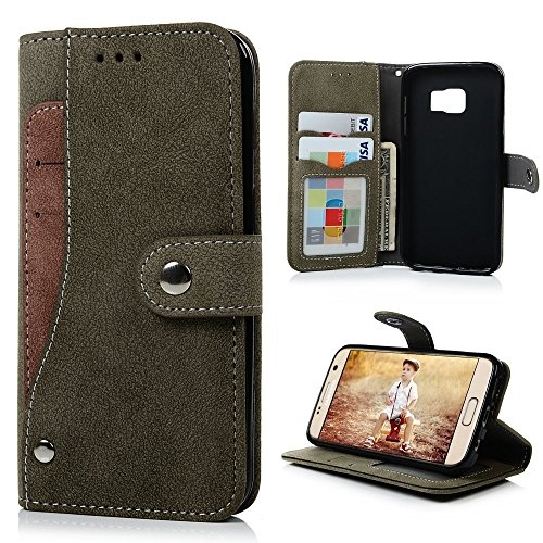 Suede Folio Case (S7 Case,Samsung Galaxy S7 Case(Non Edge) - Badalink Fancy Wallet Flip Folio Premium Suede Leather Extra Card Holder Design Soft TPU Inner Cover with Snap Fastener & Card Holders & Photo Window - Green)