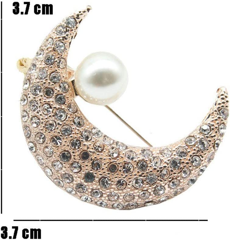 Balalafairy Plated Metal Lapel Pin 2 Pieces Rhinestone Crystal Sun and Moon Brooch Brooch Pins for Wedding Party Prom Brooches Collar