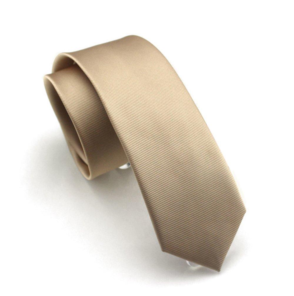 Solid Champagne Color Slim Ties Pure Color Necktie Mens Ties 2.4'' (6cm)+ Gift Box