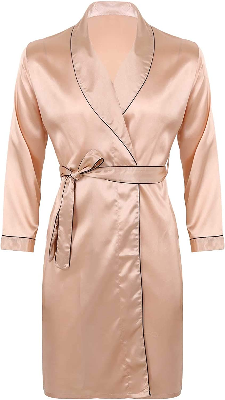 Freebily Men's Silky Satin V Neck Bathrobe Nightgown Casual Kimono Robe Loungewear Sleepwear Pajama