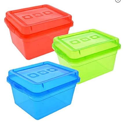Rectangular Clear Translucent Plastic Storage Containers With Lids, 3 Pc Set