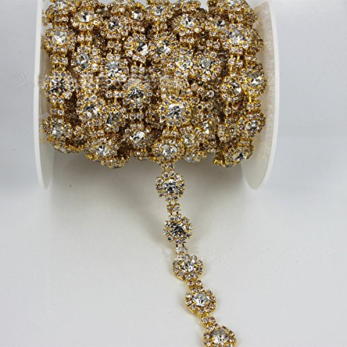 Pattern Gold Trim - Crystal and Rhinestone Trim by the Yard with Gold Metal Crystal Chain for Dresses ...
