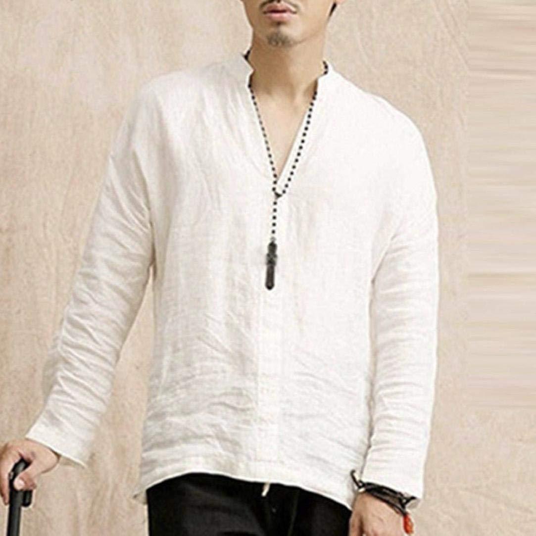 Camiseta de Manga Larga con Cuello en V de algodón de Manga Larga de algodón Holgado para Hombres de Internet: Amazon.es: Ropa y accesorios
