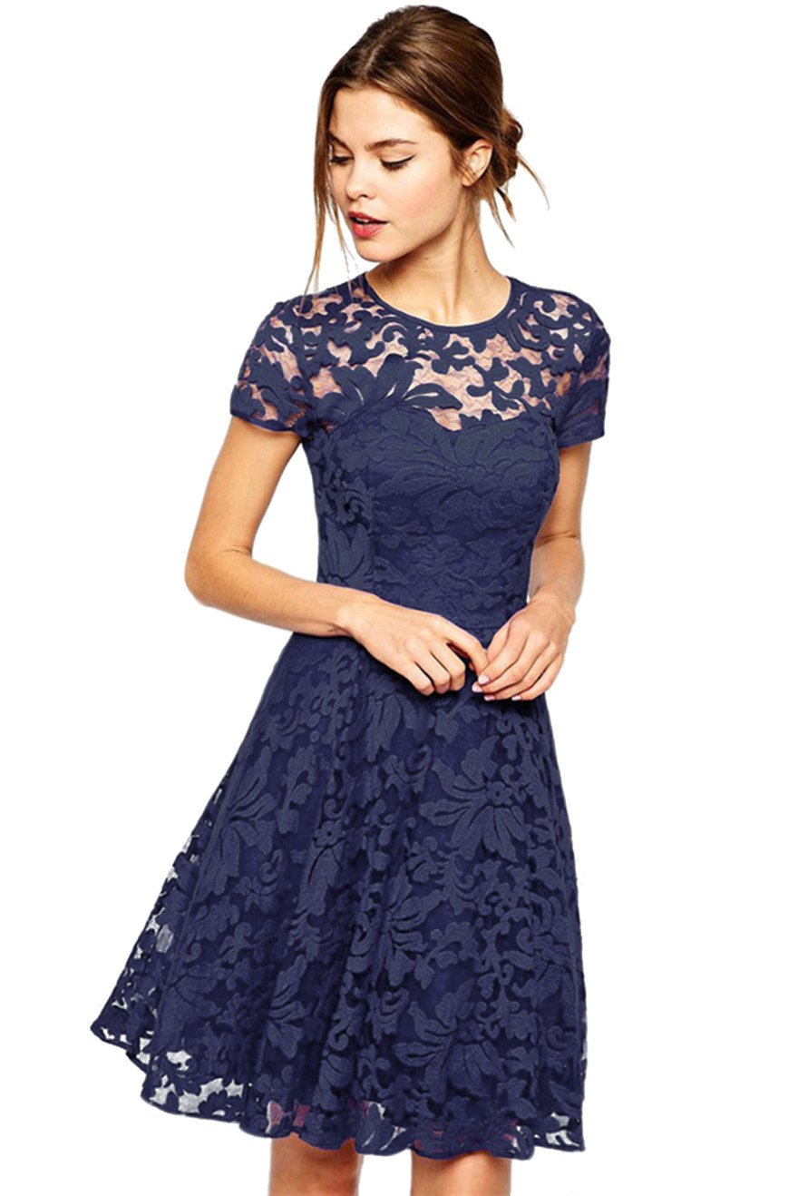 Amoluv Women Round Neck Short Sleeve Pleated Lace Slim Dress Purplish Blue Medium