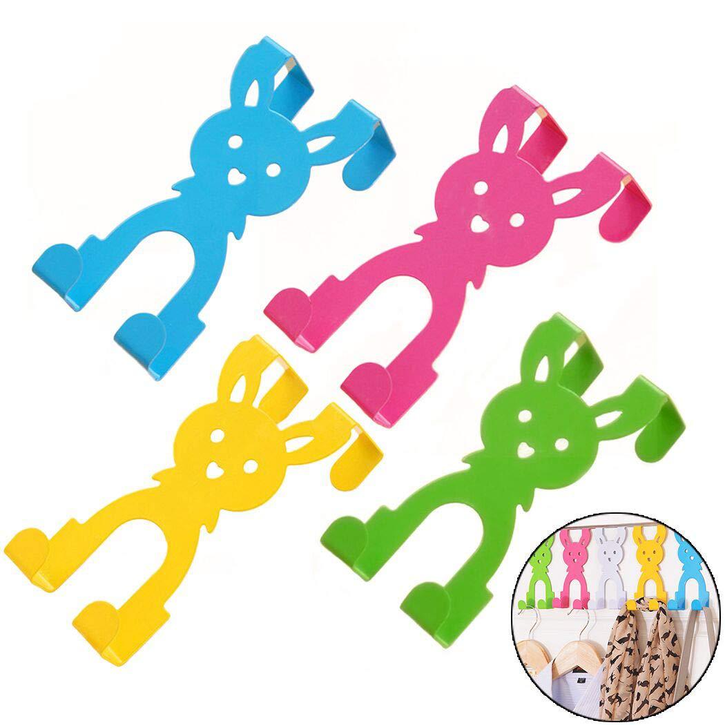 Creatiee 4PC Cartoon S Rabbit Design Over Door Hooks, Iron Art Hanger Organizer for Coats, Hats, Robes, Towels (Green, Blue,Pink, Yellow)