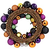 "Valery Madelyn 20"" Pre-Lit Halloween Decoration Wreath with Naughty Treat-or-Trick Shatterproof Ornaments for Indoor and Outdoor,Rattan Base with 20 LED Lights Remote and Timer Included"