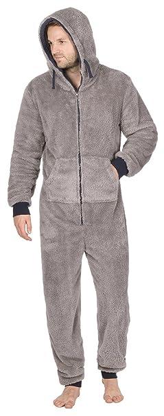 Onezee hombre para acurrucarse Forro Polar Con Capucha Cremallera Mono Mono pijama con bolsillos - Gris