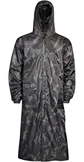 Mens Plain Mac Long Coat Raincoat Hooded Waterproof Lightweight Jacket UK S-XXL