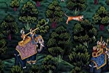 Rajput Indian Miniature Painting Handmade Stonecolor Rajputana Empire Folk Art Lively to Decor Your Home Hotel Office Bedroom Lobby or Living Room