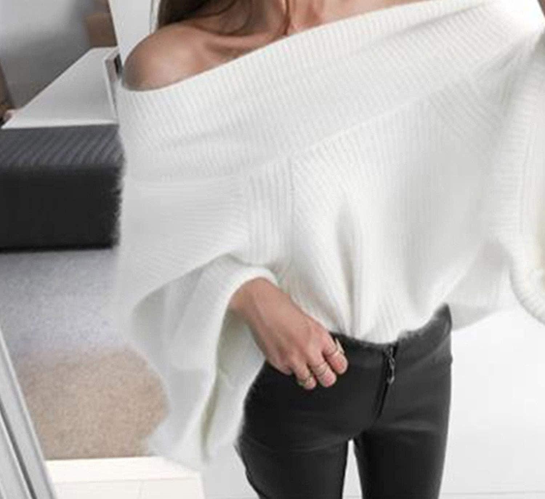 Visible Wind Cashmere Donne Slash Neck Off Spalla Flare Maniche Maglioni Pullover Fluffy Maglione Giallo