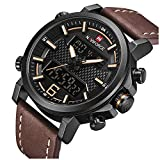 Men Military Quartz Watches Men's Casual Leather LED Date Analog Digital Watch Waterproof Sport Watches