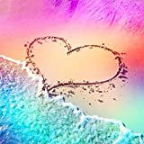 DIY 5D Diamond Painting by Number Kits, Crystal Rhinestone Diamond Embroidery Paintings Pictures Arts Craft for Home Wall Decor, Full Drill Canvas,Beach Sunset Love Heart Best Gift