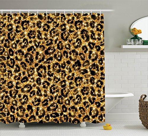 - Safari Decor Shower Curtain Set by Ambesonne, Leopard Skin Pattern with Gold Trendy Feminine Sexy Kitsch Rosettes Safari Theme, Bathroom Accessories, 75 Inches Long, Black Gold