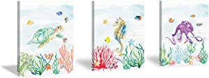 CHDITB Framed Sealife Art Print Watercolor Seahorse Octopus Fish Wall Art Set of 3 Pieces (11.8x15.6inch), Colorful Ocean Life Sea Grass Coral Canvas Painting for Kids Room Nursery Decor-Ready to Hang