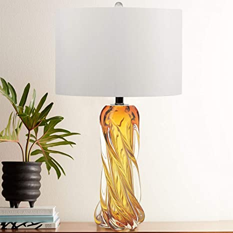 Contemporary Amber Glass Lamp,25.5\