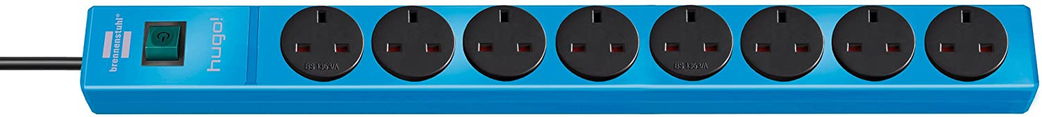 Brennenstuhl 1150613188 8-Way Extension Socket with 2m Cable - Blue