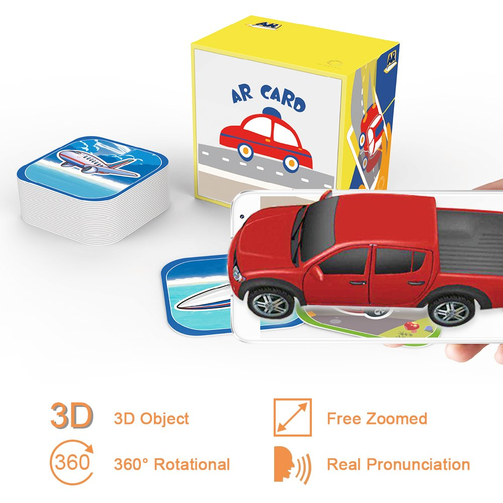 AR Education Cards AR Educational Augmented Reality 4D Flash Cards with Original APP Best Education Tool 40 Kinds of Different Vehicles Including Car Truck Train AR Cards for Primary Students