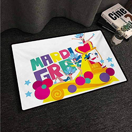 HCCJLCKS Bedroom Doormat Mardi Gras Festival Parade Theme Dancers in Costumes Colorful Dots Stars Abstract Design Machine wash/Non-Slip W35 xL59 Multicolor -