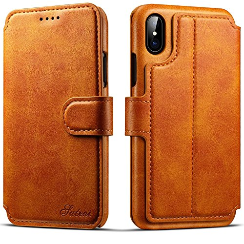 iPhone X Case, iPhone 10 Leather Wallet Case [Card Slot] [Kickstand View] [Magnetic Closure] Folio Flip Slim Cover (iPhone X/10 (5.8