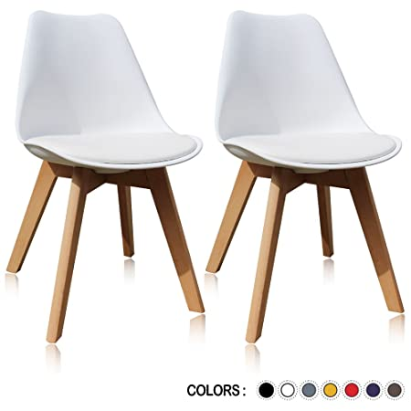 Krei Hejmo Plastic Dining Chair Side Chair with Wooden Base – Set of Two 2 White