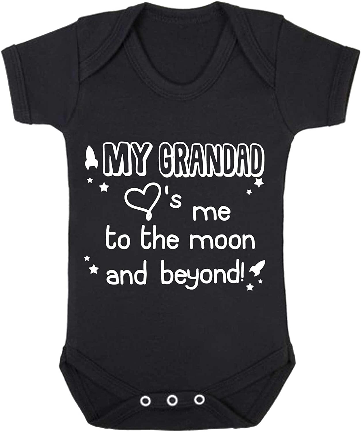 0-3 Months, Black My Grandad Loves Me to The Moon and Beyond Babygrow