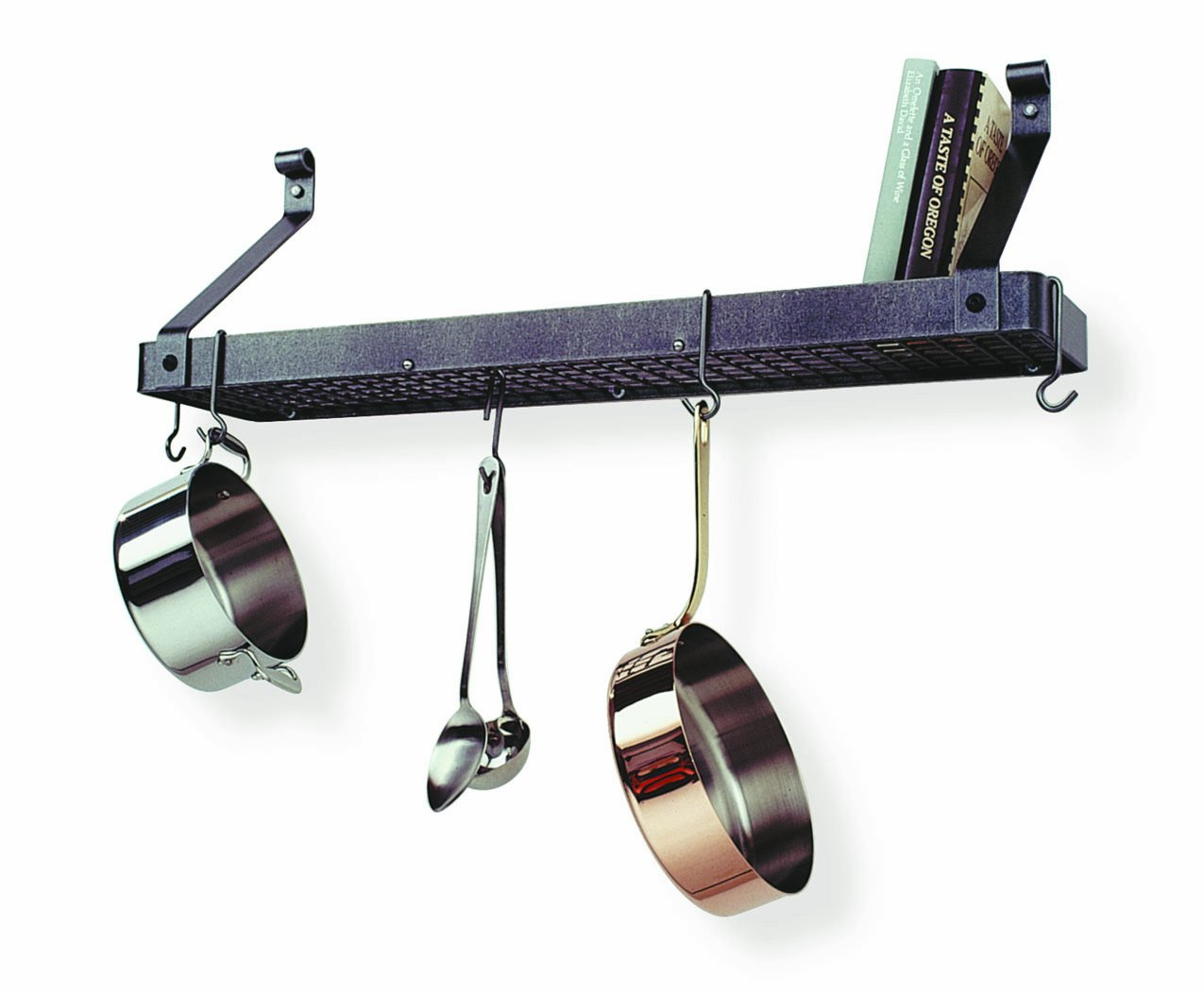 mount chain wall bookshelf on best hooks pot shelf racks hang decoration and to rack uk ceiling enclume kitchen pots with potrack pan island decorative