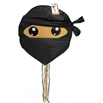 """APINATA4U 16"""" Ninja Pinata Black Color with Pull Strings: Toys & Games"""