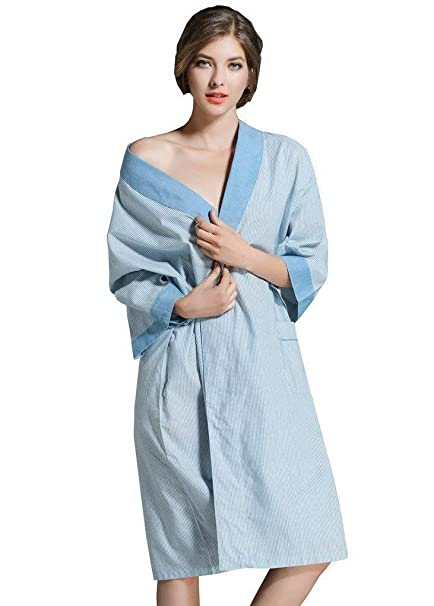 Unisex Albornoz Kimono Manga Larga Sauna Abrigo Bata Algodón Mujeres Casuales Noche Calentamiento Slaw Pijama Camisón