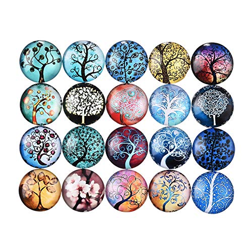 Mixed Color Mosaic Printed Glass Half Round Dome Cabochons Tree of Life for Jewelry Making 20mm 30pcs ()