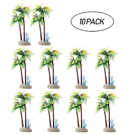 Aolvo 10 unidades de plantas de acuario de tortuga, plantas de acuario artificiales, forma de palma ...