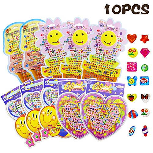 Agreatca 10 Pieces 900 Pairs Sticker Earrings 3D Gems Sticker Girls Stick on Earrings,Assorted Designs and Colors New Party Favors, Scrapbook Gems, Decorate Cards