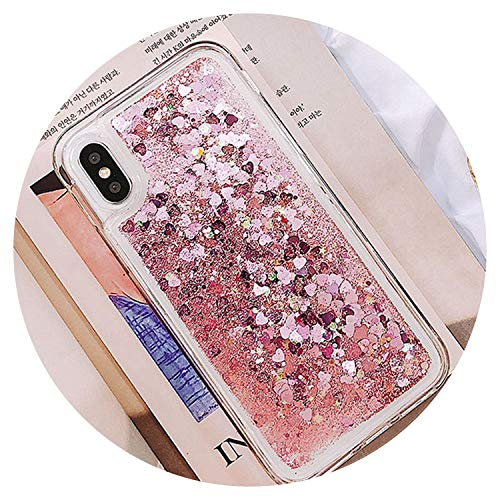 Bling Ice Cream Dynamic Liquid Quicksand Case for iPhone X 10 Cases Cover for iPhone 7 8 6 6S Plus Love Heart Back Capa,Pink Glitter Clear,6Plus - Cream 4 Cases Ipod Ice