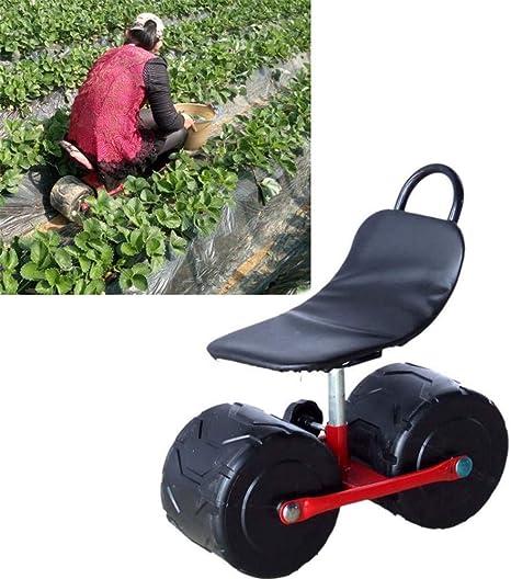 HLLL Carro de jardín Scooter rodante con Asiento, Taburete para Plantar Cómodo cojín de Asiento de Esponja de PU Silla móvil con Ruedas: Amazon.es: Deportes y aire libre