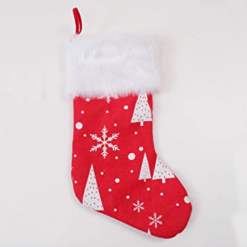 Tenrany Home Las Medias de Navidad Decoraciones, 2 Pcs Peluche Christmas Stocking Bolsas de Regalo