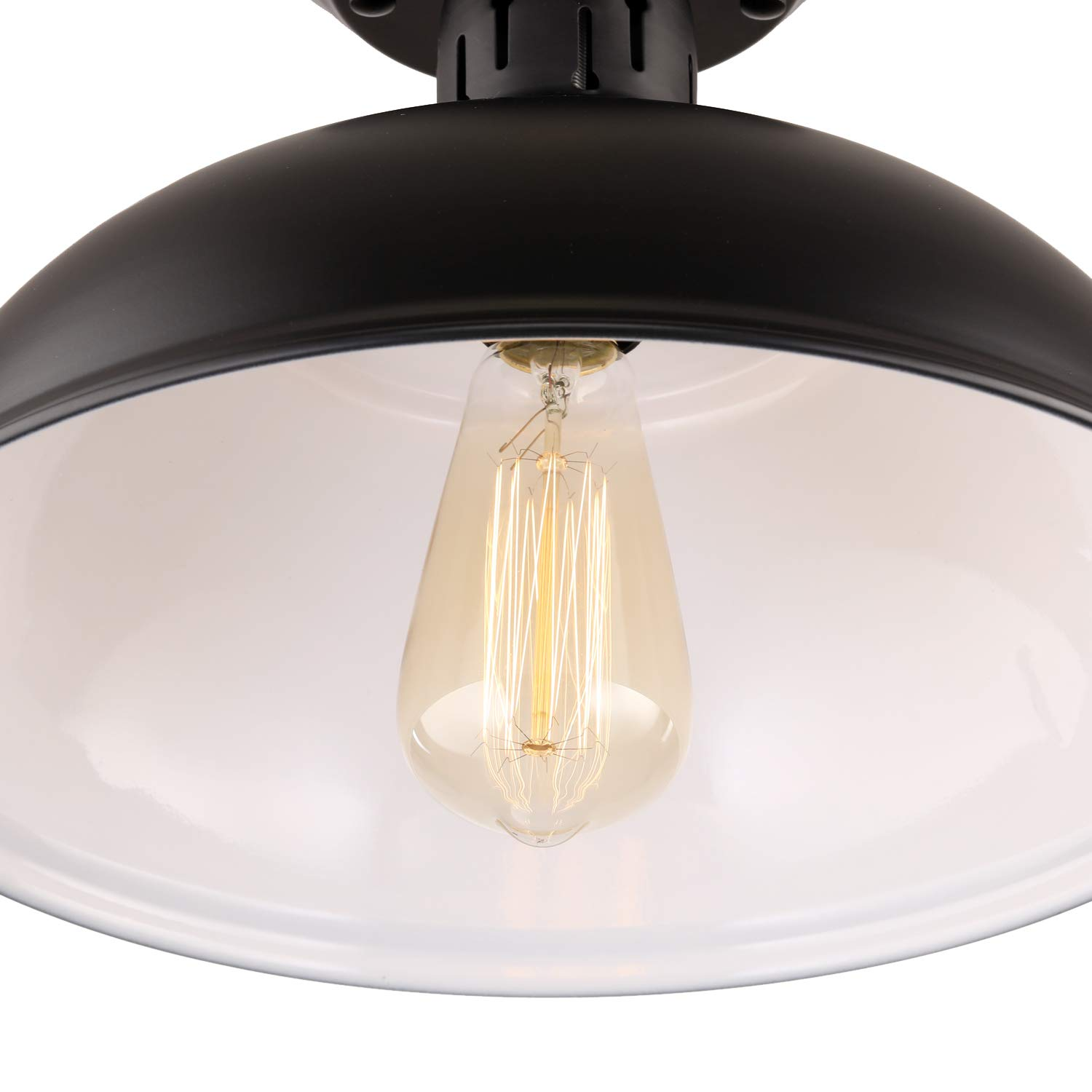 HMVPL Industrial Edison Close To Ceiling Light Rustic Mini Semi Flush Mounted Pendant Lighting With