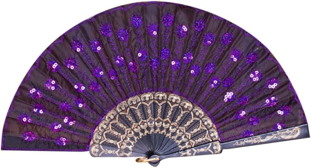 Coohole Chinese Classic Peacock Pattern Folding Hand Held Danc Fan Embroidered Sequin Party Wedding Prom (F)