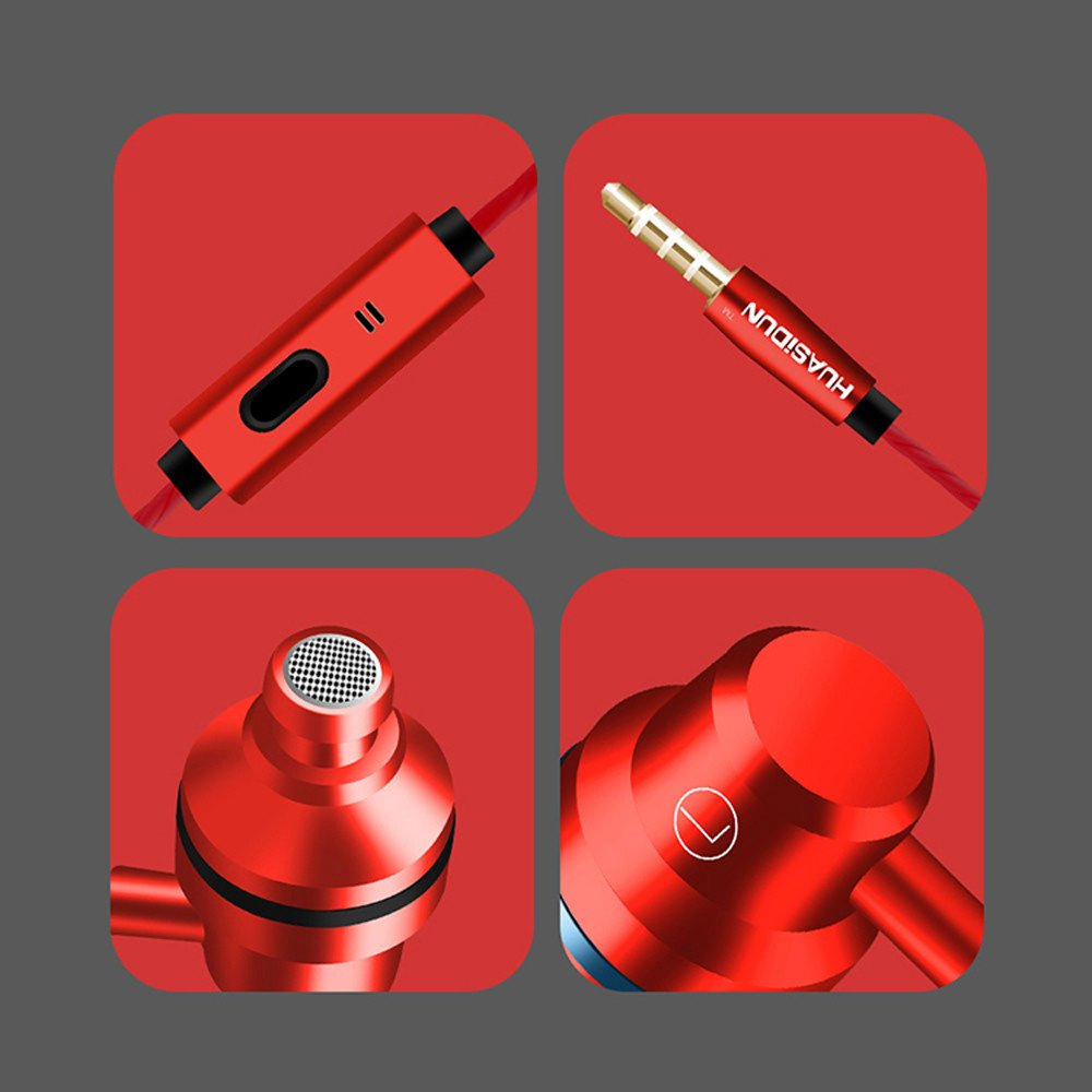 KaiCran New Metal Stereo Headphone Bass Earphone Sport Headset Hands Free Earbuds With Mic (Red) by KaiCran (Image #4)