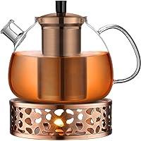 ecooe Oryginalny dzbanek do herbaty z brązu o pojemności 1500 ml, szkło borokrzemowe, zaparzacz do herbaty z…