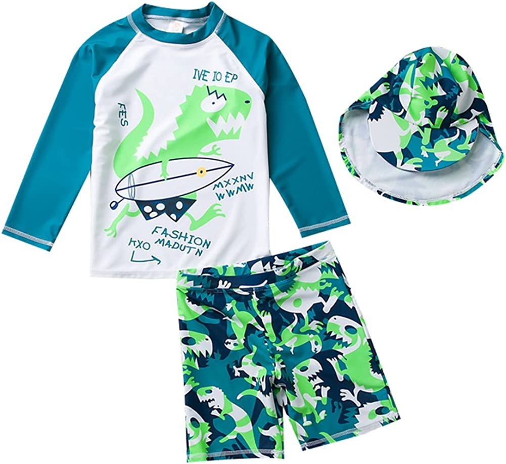 3-13 T Toddler Boys Two Piece Dinosaur Swimsuit Kids UV Sun Protective Long Sleeve Bathing Suit Surfing Suit UPF 50