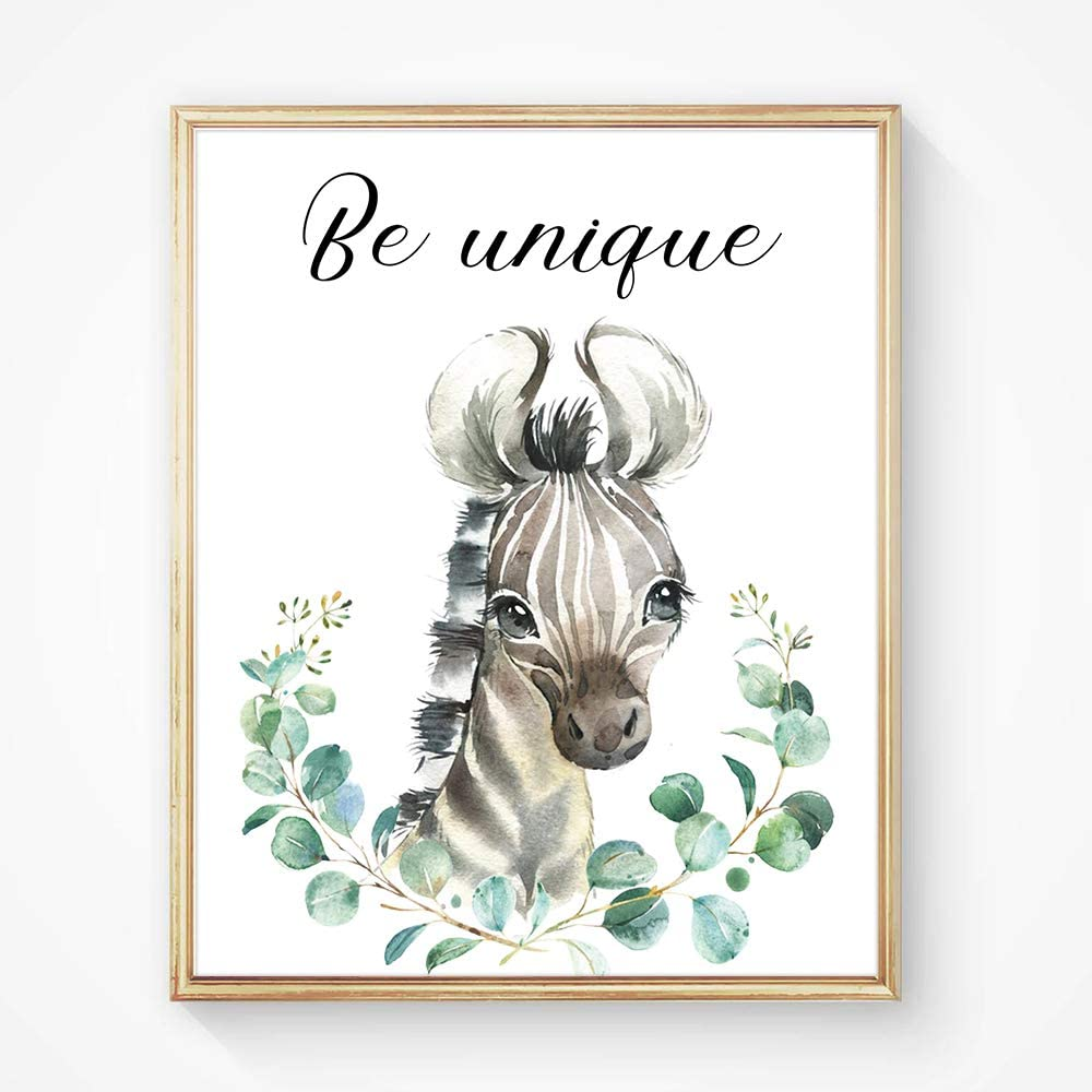 """8/""""X10/"""" Elephant Flower Inspirational Words Woodland Crown Animals Adorable Art Pri nt Set of 4 Leaf Motivational Quote Phrases Wall Art Poster for Nursery or Baby Kids Room Home Decor No Frame"""