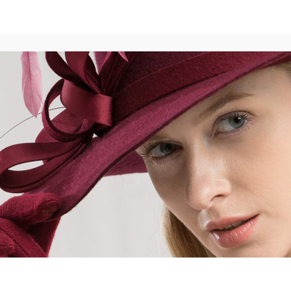 FADVES Women Fascinator Wool Fedora Hats Wedding Party Royal Ascot Feather Hat