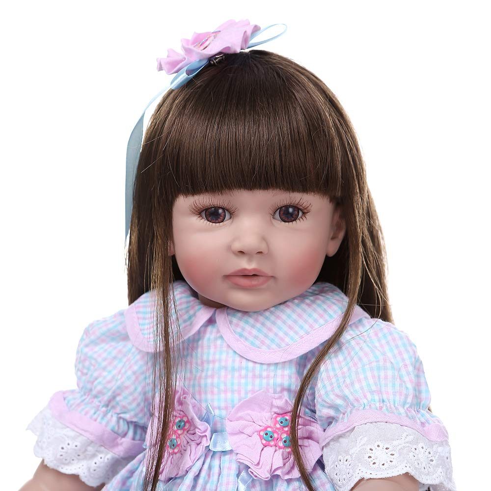 Binxing Toys 24 Pulgadas mu/ñecas Reborn Grandes Hecha a Mano Realista ni/ño renacido ni/ña 60 cm de Pelo Largo con Vestido de Encaje